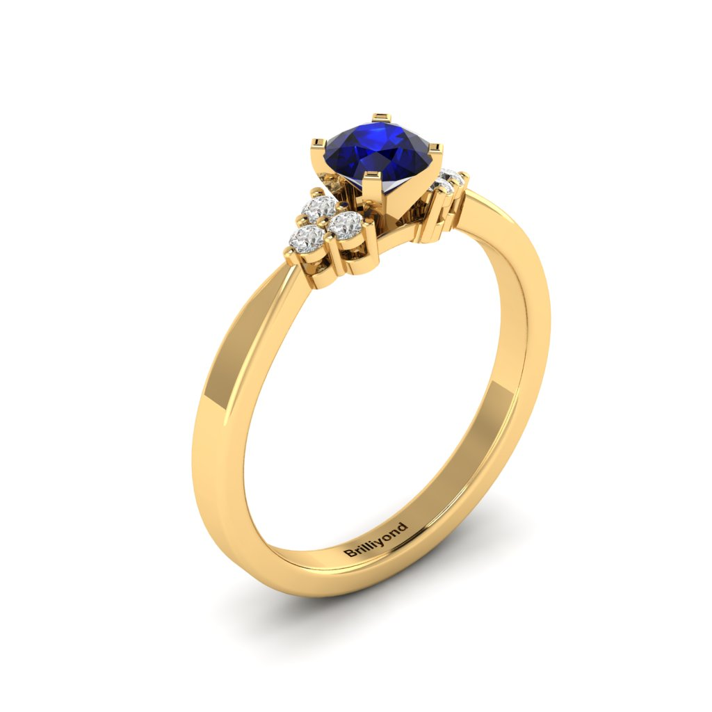 Yellow Gold Brilliant Cut Blue Sapphire Engagement Ring Jasmine_image2