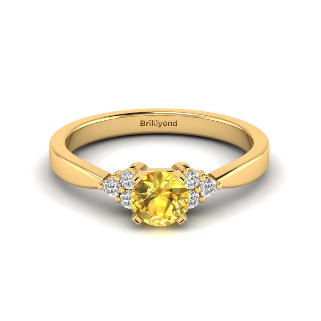 Yellow Gold Brilliant Cut Yellow Sapphire Engagement Ring Jasmine_image1