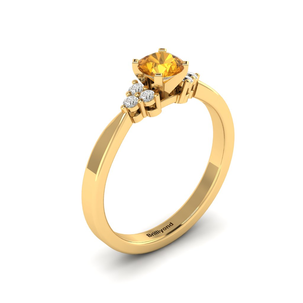 Yellow Gold Brilliant Cut Yellow Sapphire Engagement Ring Jasmine_image2