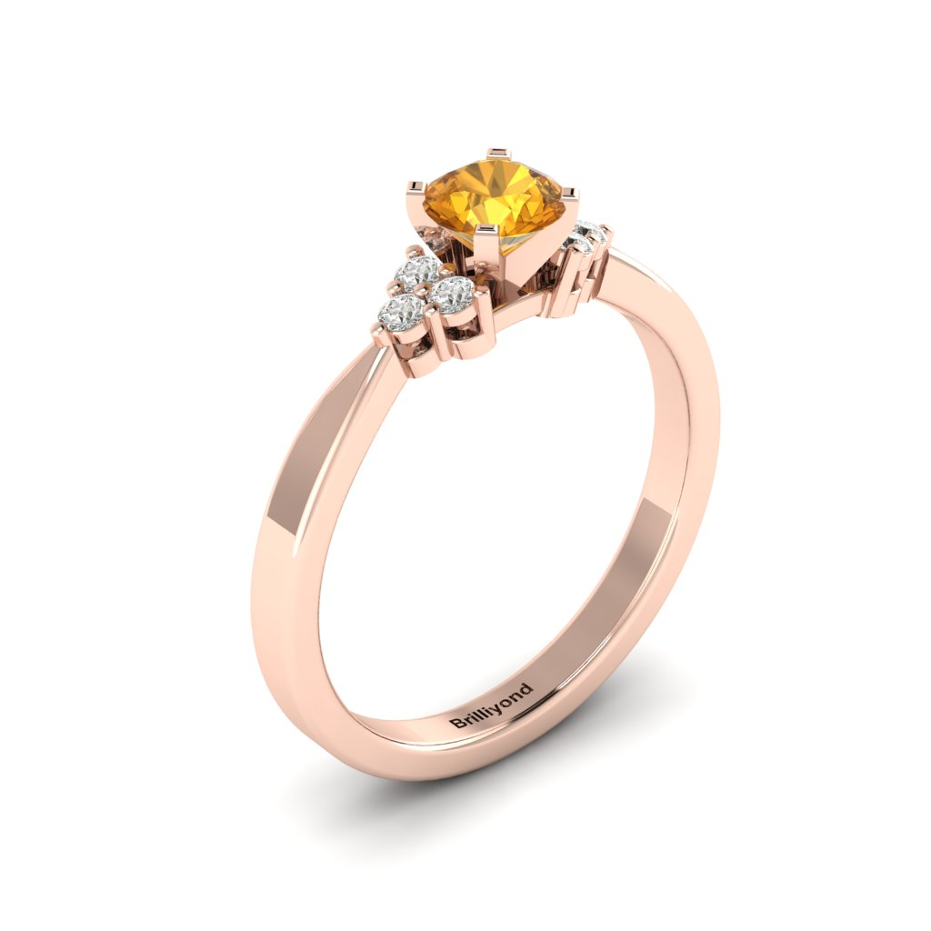 Rose Gold Brilliant Cut Yellow Sapphire Engagement Ring Jasmine_image1