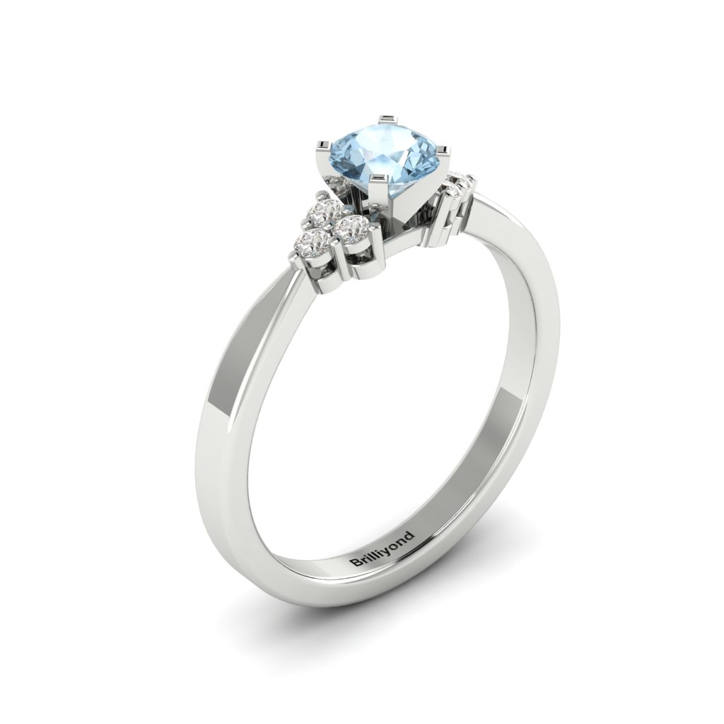 White Gold Brilliant Cut Aquamarine Engagement Ring Jasmine_image1