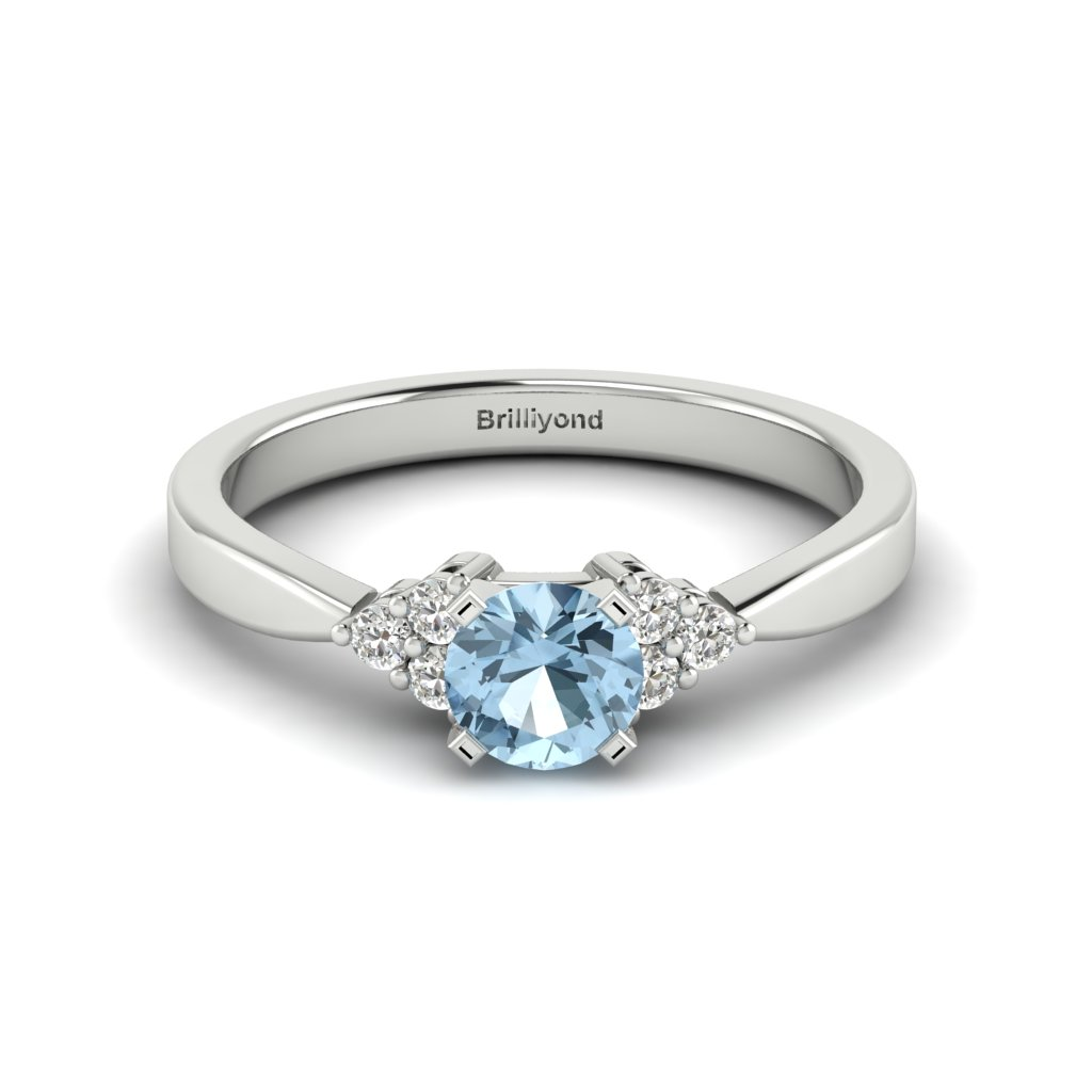 White Gold Brilliant Cut Aquamarine Engagement Ring Jasmine_image2