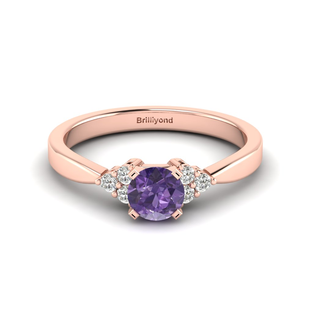 Rose Gold Brilliant Cut Amethyst Engagement Ring Jasmine_image1