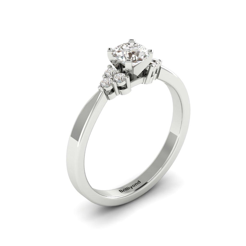 White Gold Brilliant Cut White Sapphire Engagement Ring Jasmine_image1