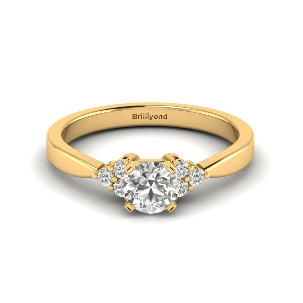 Yellow Gold Brilliant Cut White Sapphire Engagement Ring Jasmine_image1