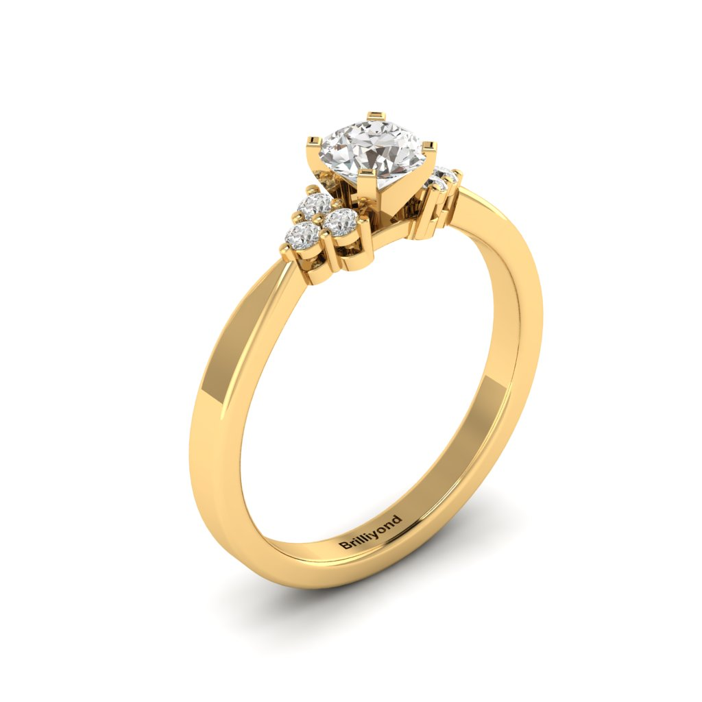 Yellow Gold Brilliant Cut White Sapphire Engagement Ring Jasmine_image2