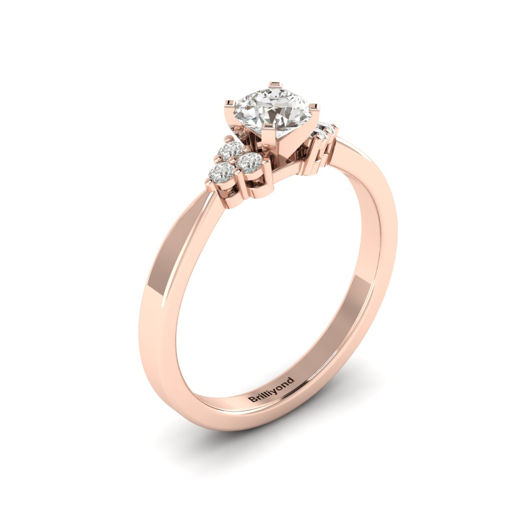 Rose Gold Brilliant Cut White Sapphire Engagement Ring Jasmine_image1