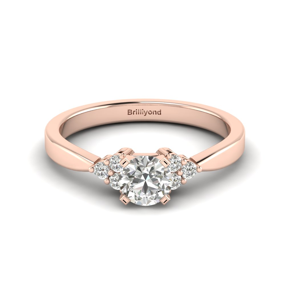 Rose Gold Brilliant Cut White Sapphire Engagement Ring Jasmine_image2