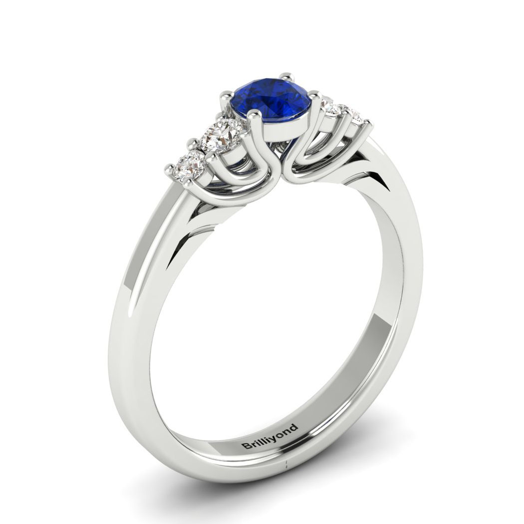 Claddagh Blue Sapphire Engagement Ring in White Gold_image1