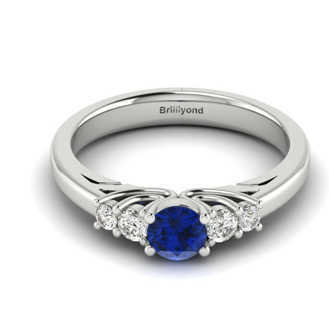 Claddagh Blue Sapphire Engagement Ring in White Gold_image2