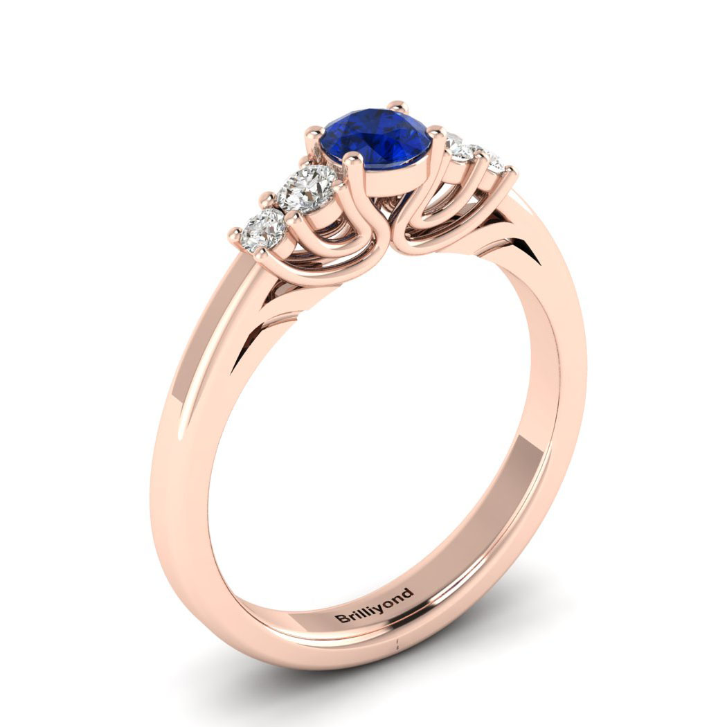 Claddagh Blue Sapphire Engagement Ring in Rose Gold_image2