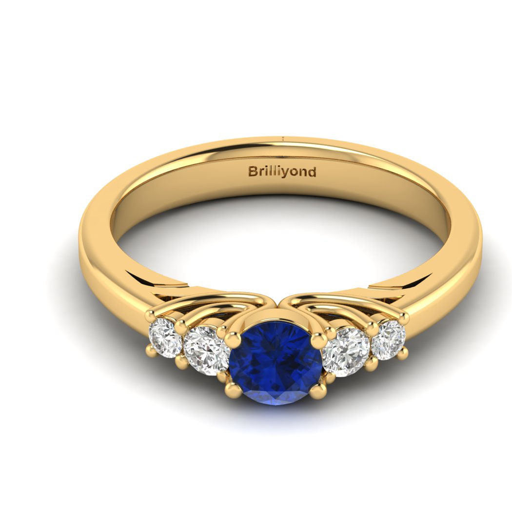 Claddagh Blue Sapphire Engagement Ring in Yellow Gold_image2