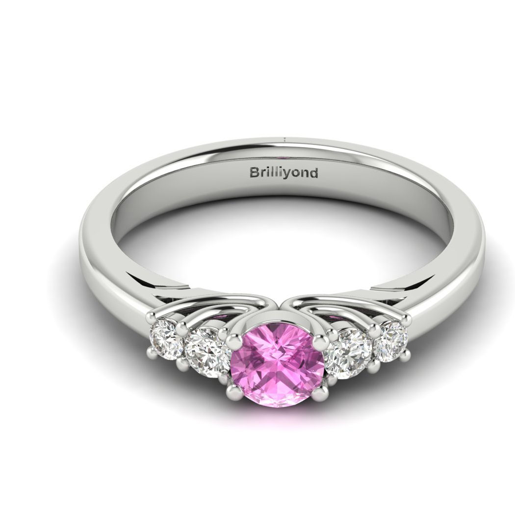 Claddagh Pink Sapphire Engagement Ring in White Gold_image1