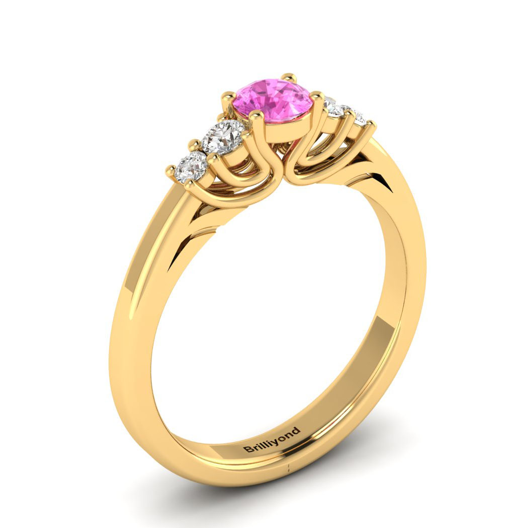 Claddagh Pink Sapphire Engagement Ring in Yellow Gold