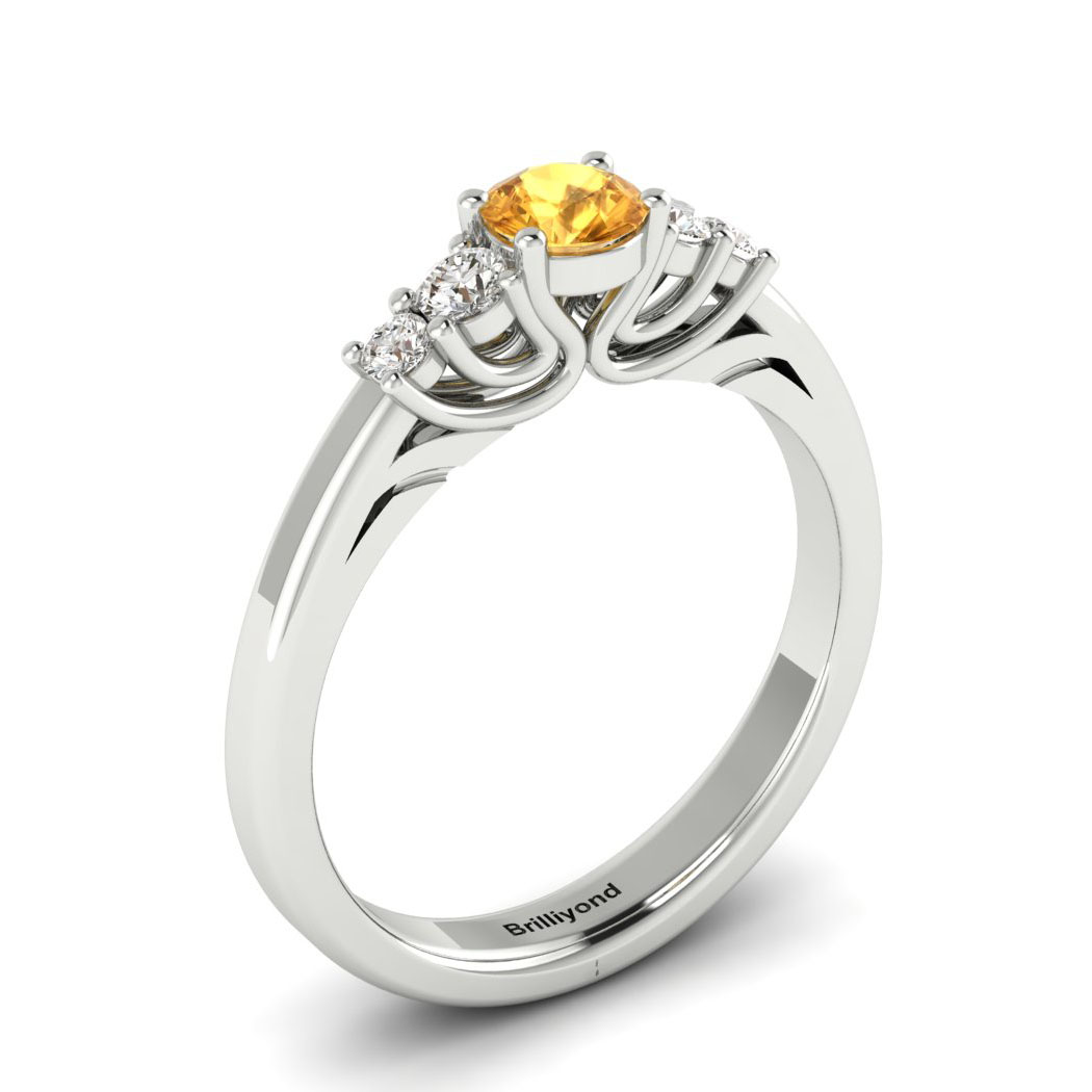 Claddagh Yellow Sapphire Engagement Ring in White Gold_image1