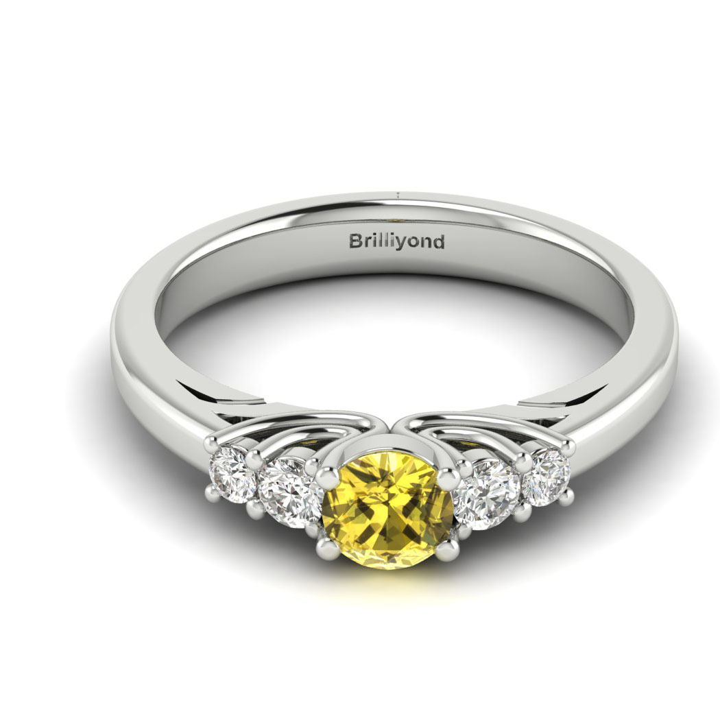 Claddagh Yellow Sapphire Engagement Ring in White Gold_image2