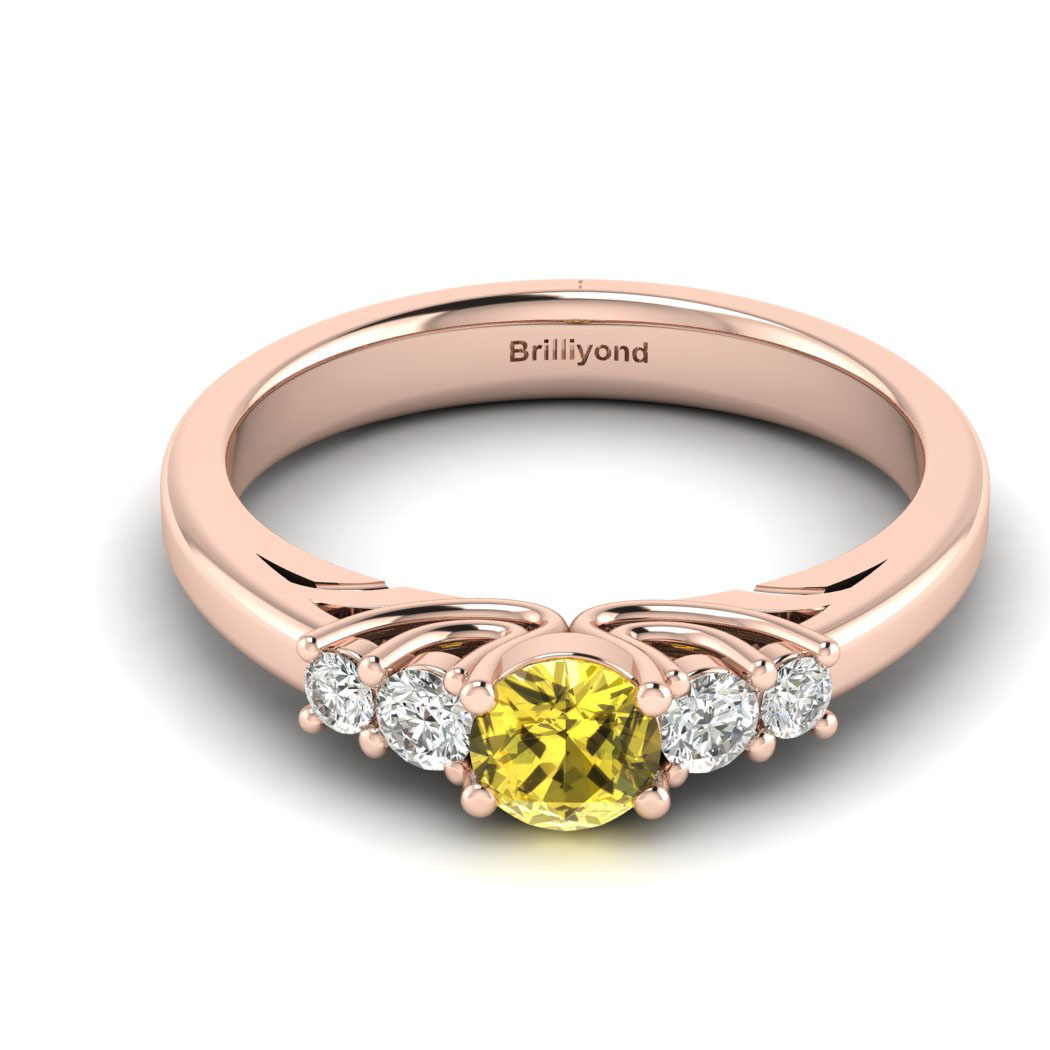 Claddagh Yellow Sapphire Engagement Ring in Rose Gold_image1