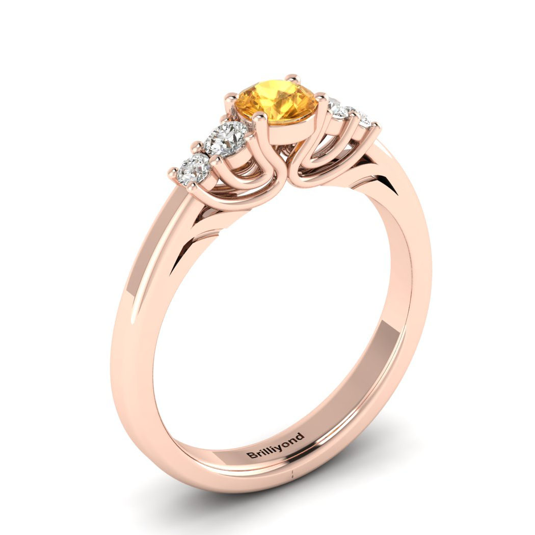Claddagh Yellow Sapphire Engagement Ring in Rose Gold_image2