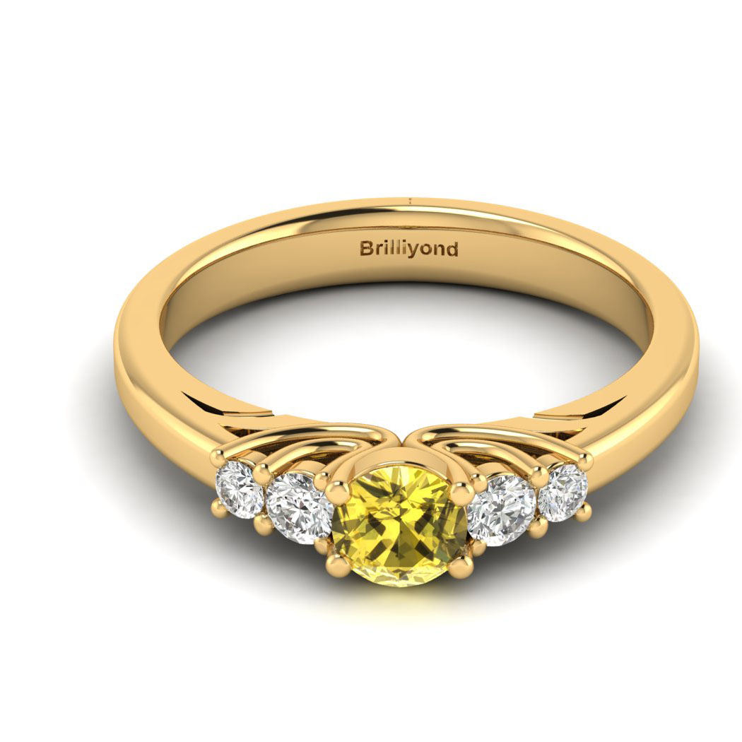 Claddagh Yellow Sapphire Engagement Ring in Yellow Gold_image2