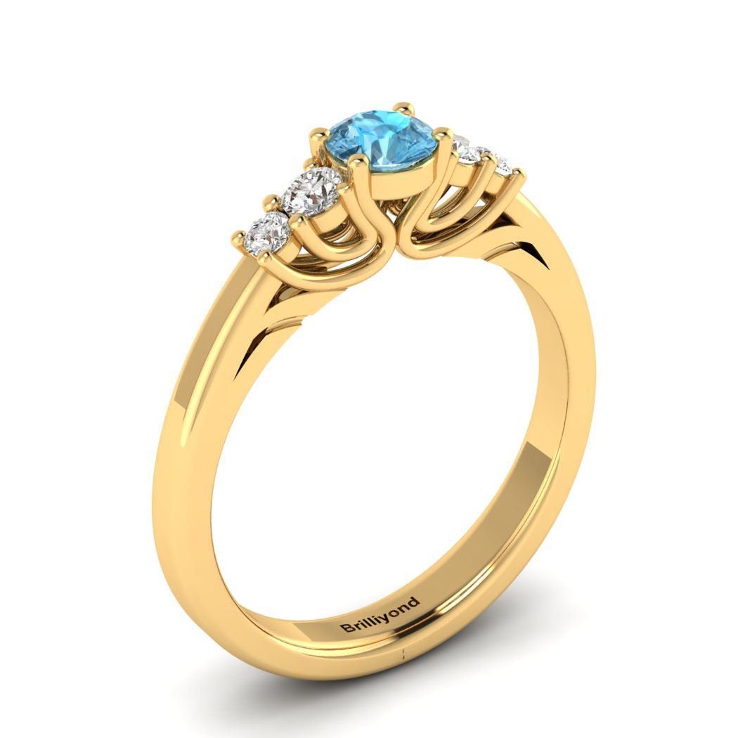 Claddagh Aquamarine Engagement Ring in Yellow Gold_image1