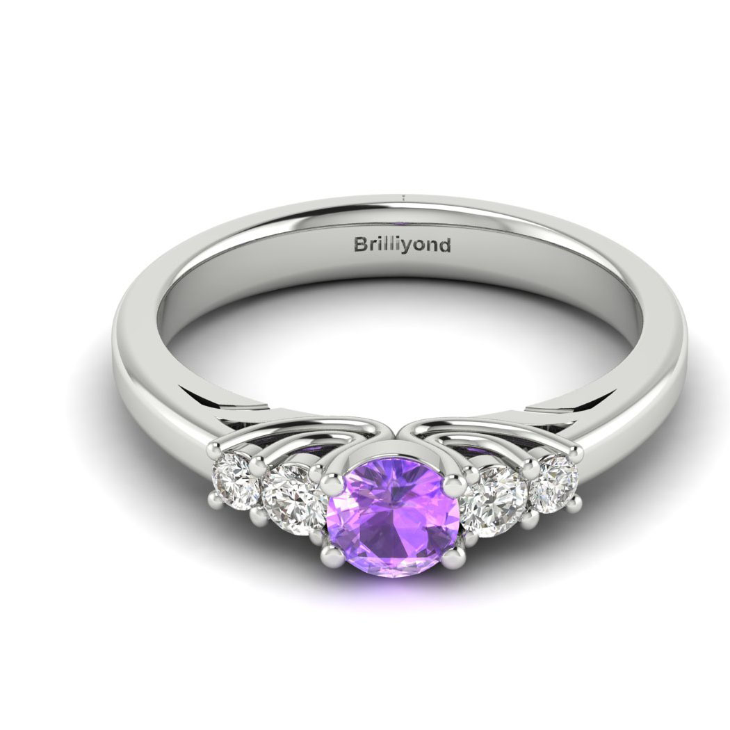 Claddagh Amethyst Engagement Ring in White Gold_image1
