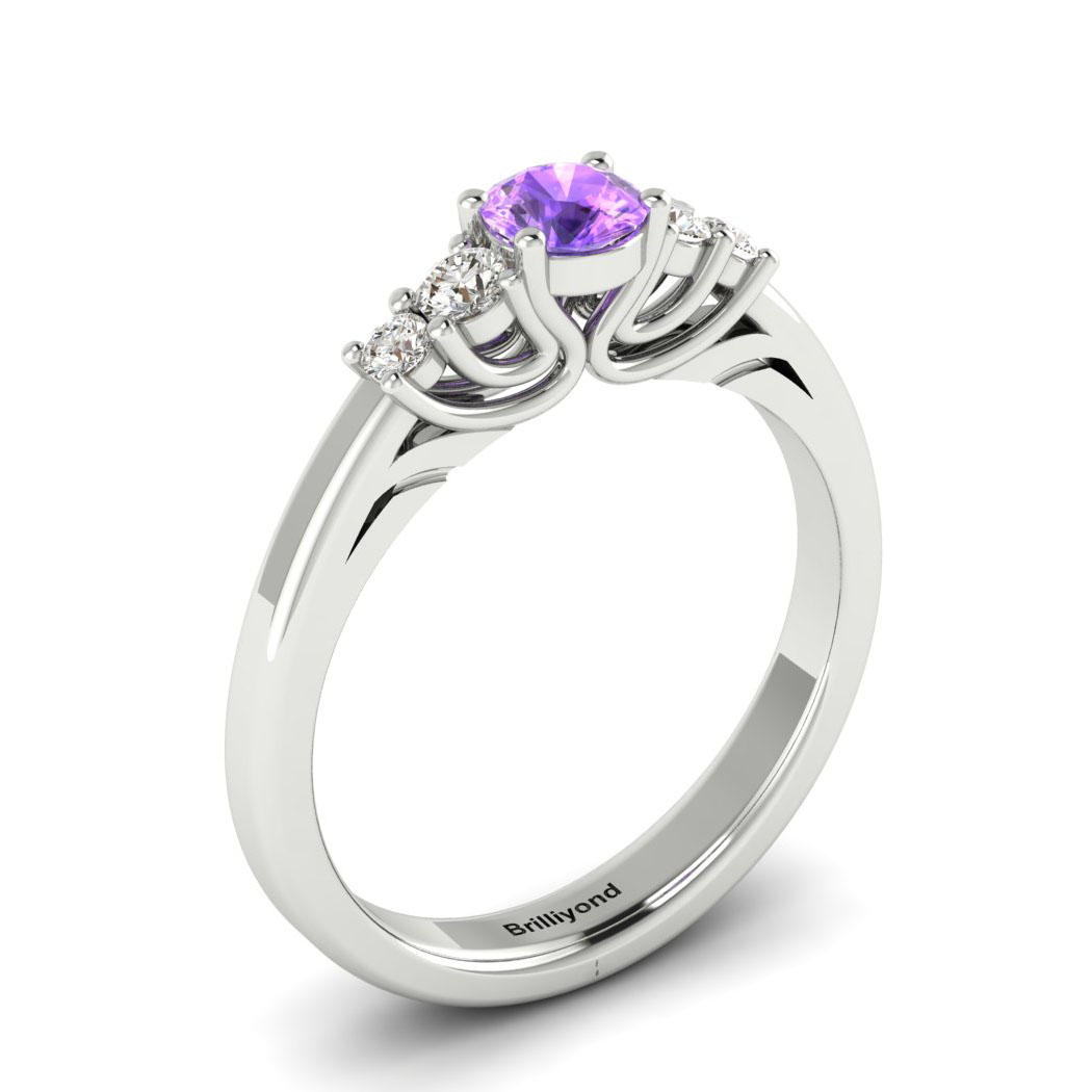 Claddagh Amethyst Engagement Ring in White Gold_image2