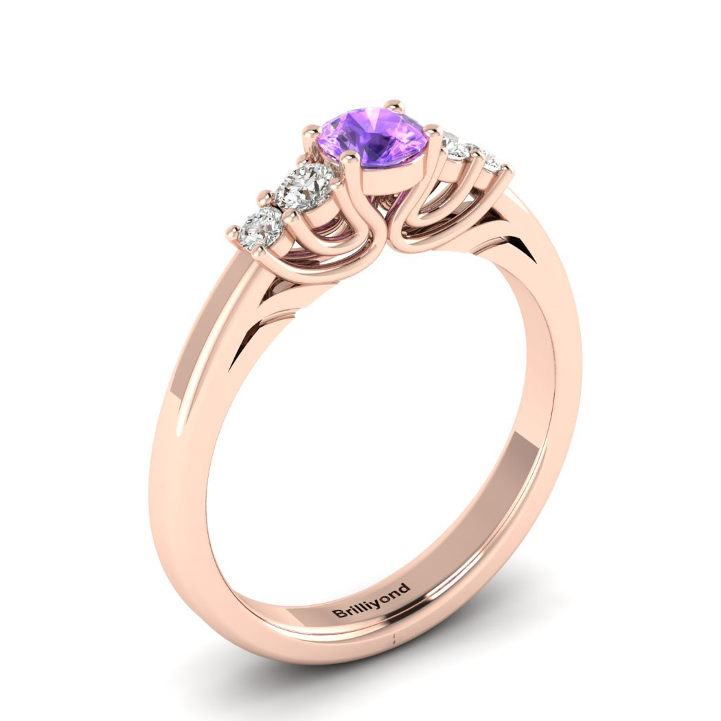 Claddagh Amethyst Engagement Ring in Rose Gold_image1