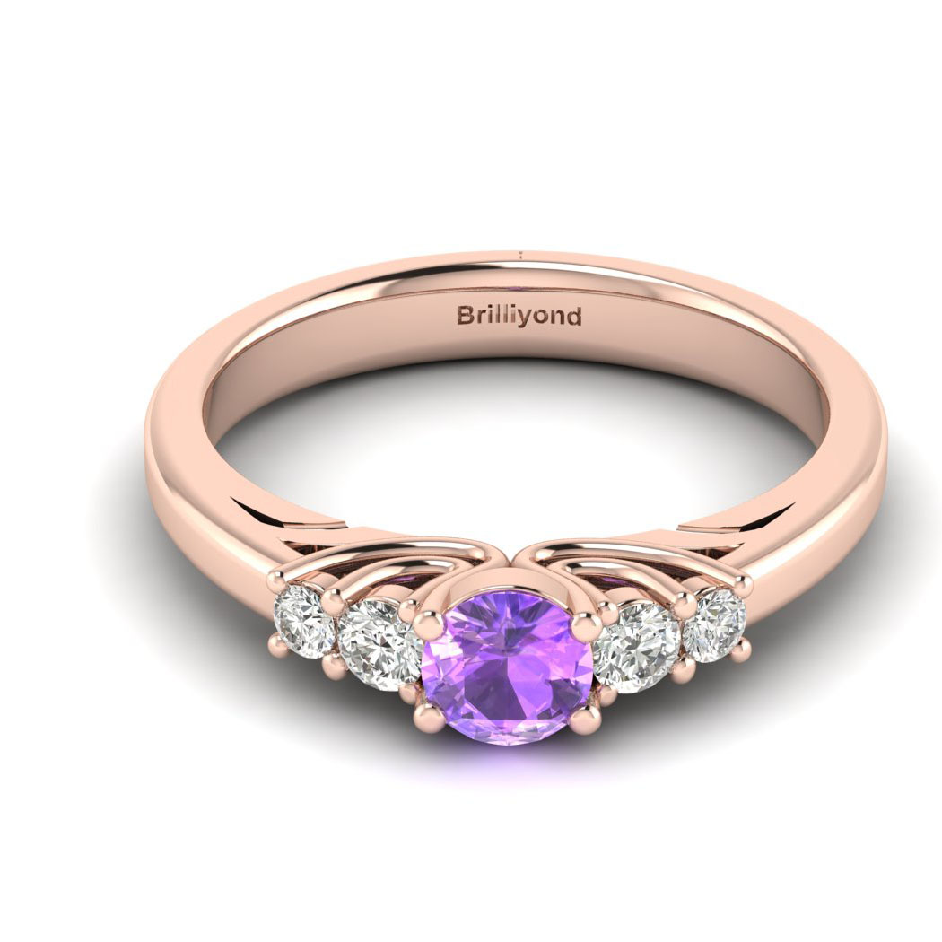 Claddagh Amethyst Engagement Ring in Rose Gold_image2