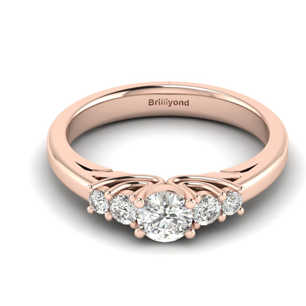 Claddagh White Sapphire Engagement Ring in Rose Gold