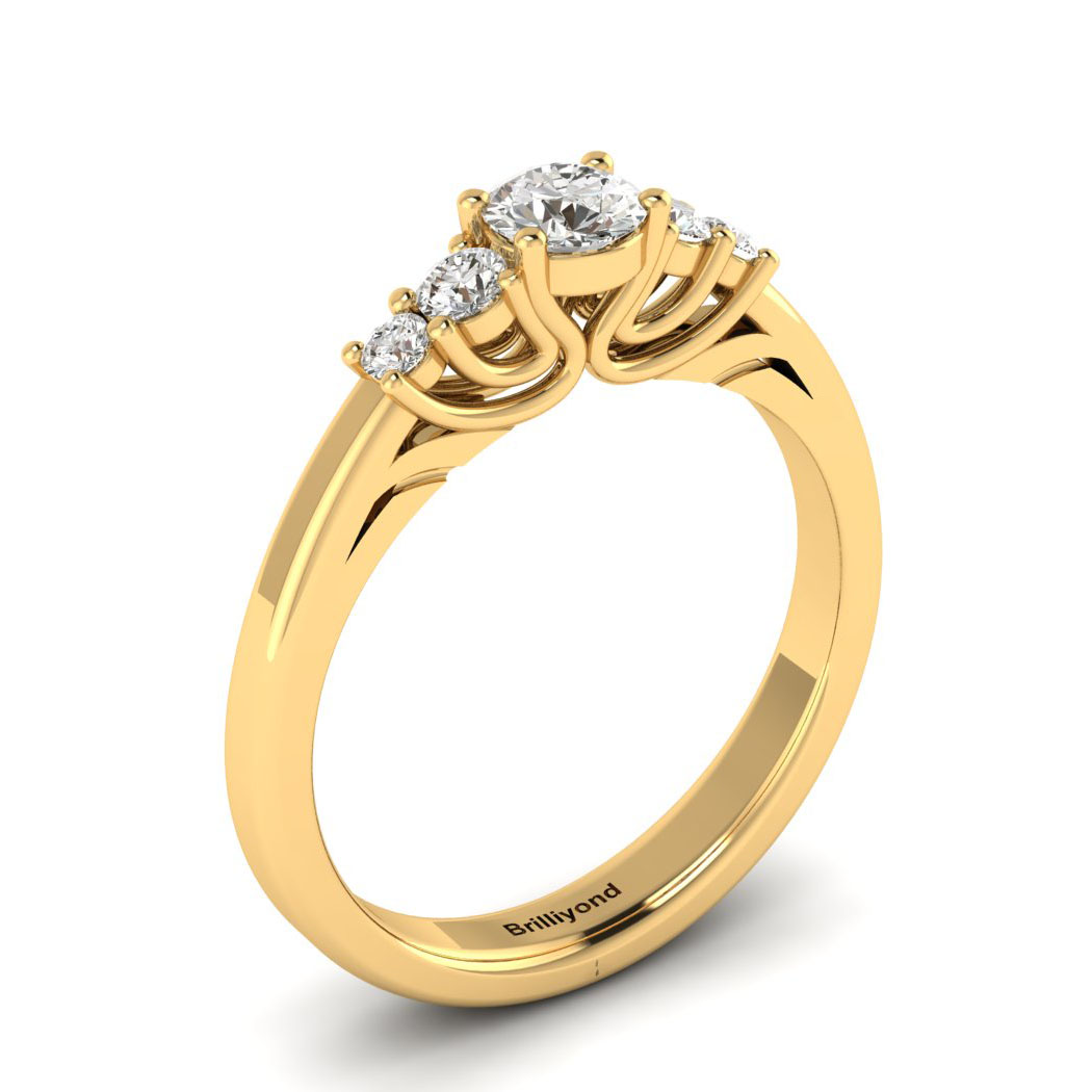 Claddagh White Sapphire Engagement Ring in Yellow Gold_image1