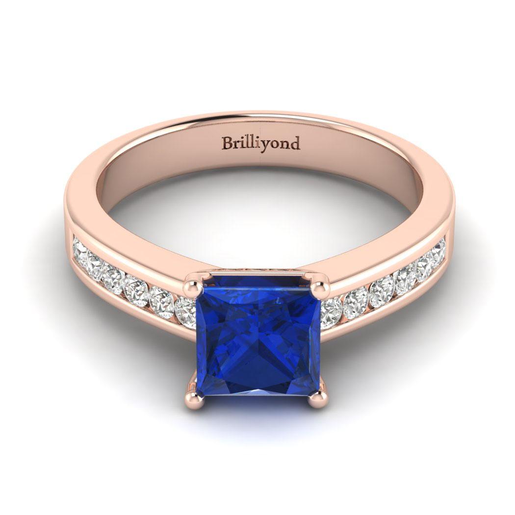 Blue Sapphire Rose Gold Princess Cut Engagement Ring Pharos_image1