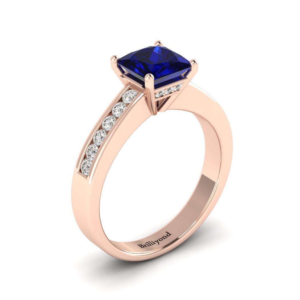 Blue Sapphire Rose Gold Princess Cut Engagement Ring Pharos_image2