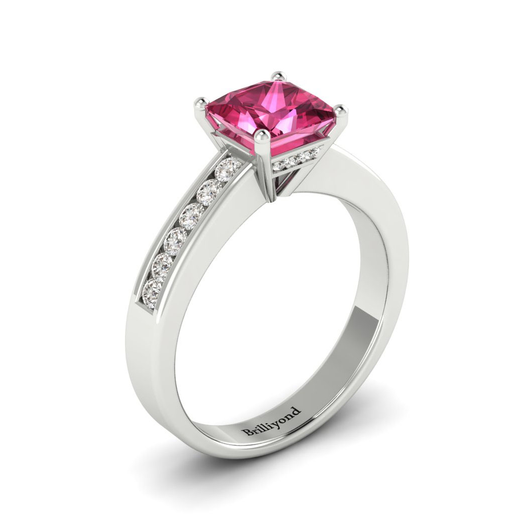 Pink Sapphire White Gold Princess Cut Engagement Ring Pharos_image1