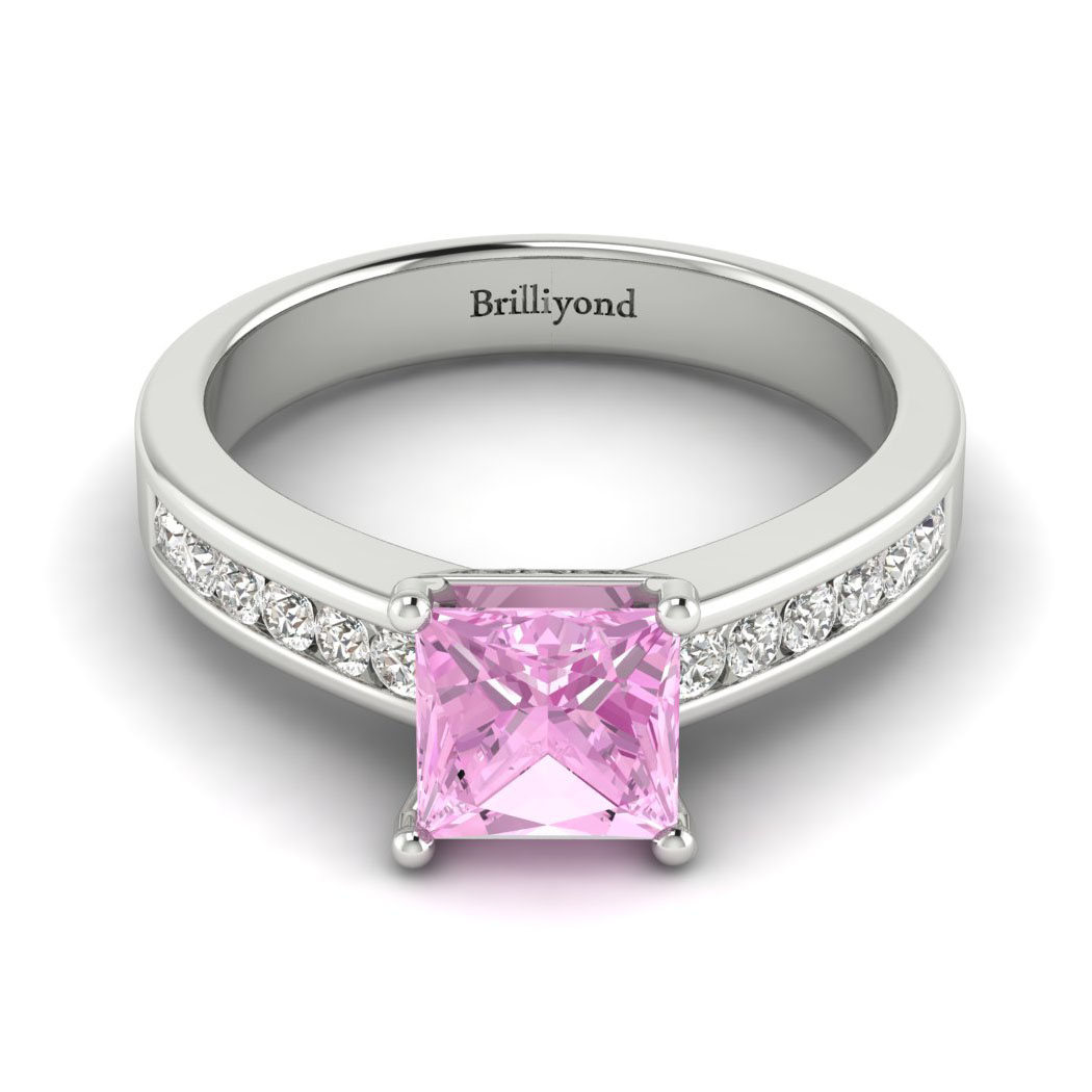 Pink Sapphire White Gold Princess Cut Engagement Ring Pharos_image2
