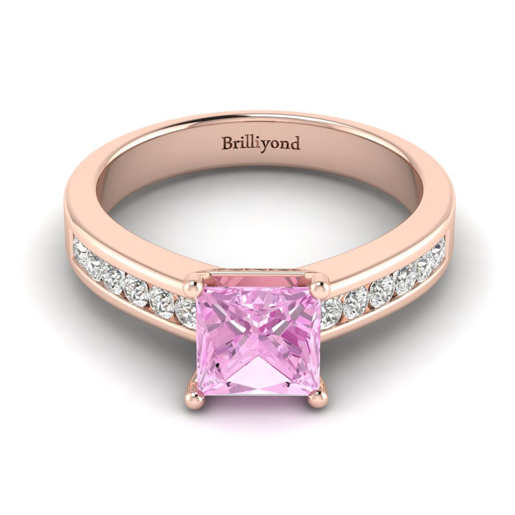 Pink Sapphire Rose Gold Princess Cut Engagement Ring Pharos_image1