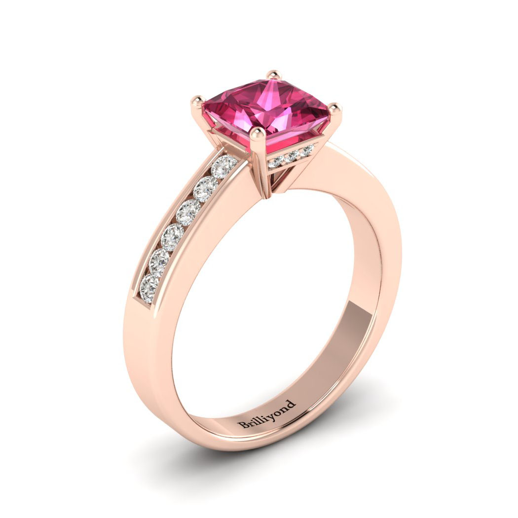 Pink Sapphire Rose Gold Princess Cut Engagement Ring Pharos_image2