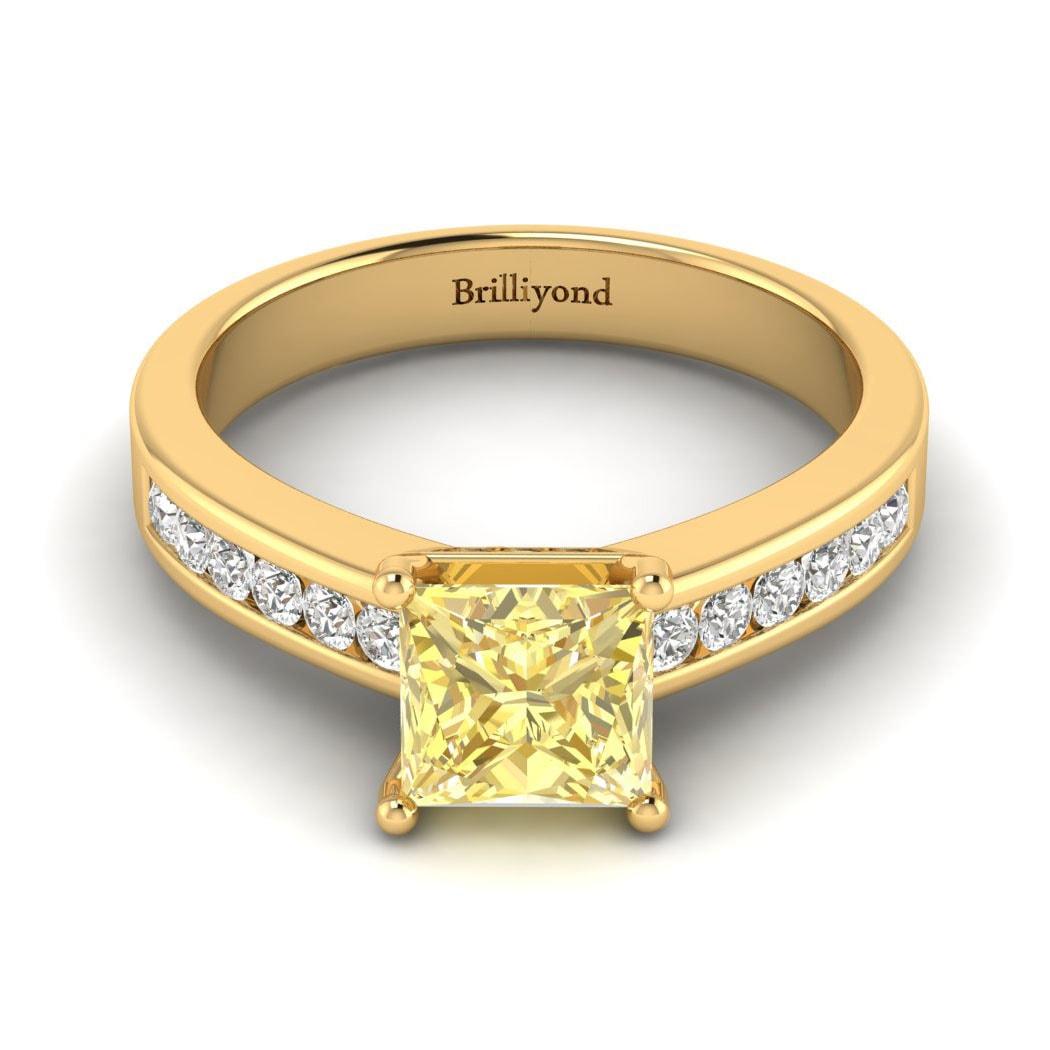 Yellow Sapphire Yellow Gold Princess Cut Engagement Ring Pharos