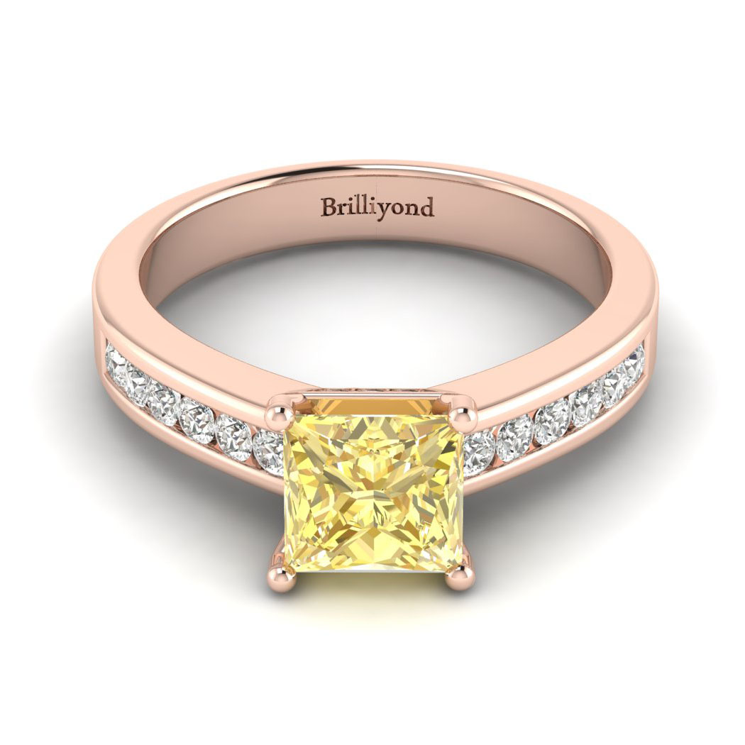 Yellow Sapphire Rose Gold Princess Cut Engagement Ring Pharos_image2