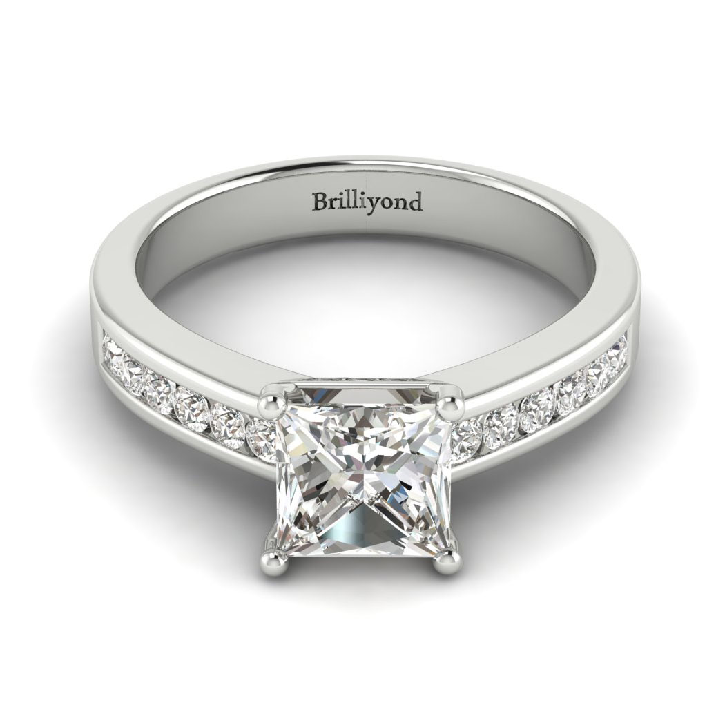 Diamond White Gold Princess Cut Engagement Ring Pharos_image2