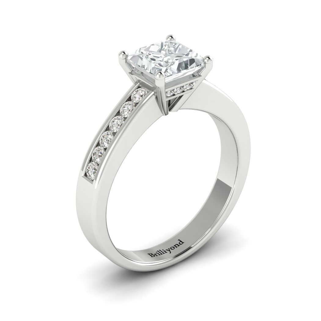 Diamond White Gold Princess Cut Engagement Ring Pharos_image5