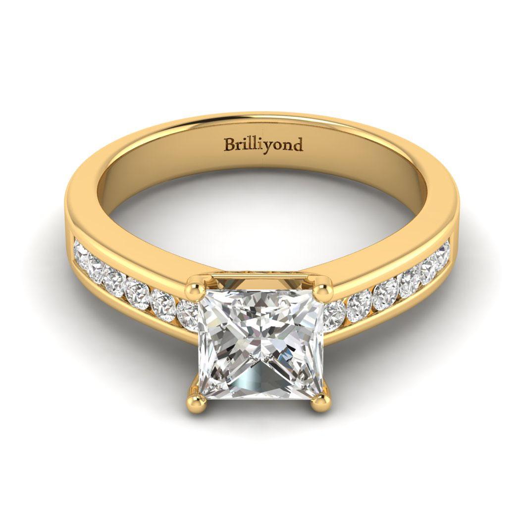 Diamond Yellow Gold Princess Cut Engagement Ring Pharos_image2