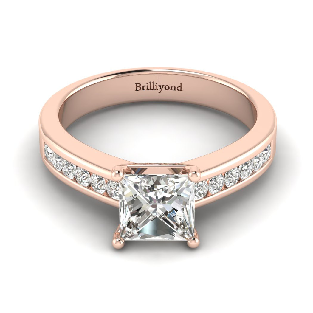 Diamond Rose Gold Princess Cut Engagement Ring Pharos_image1