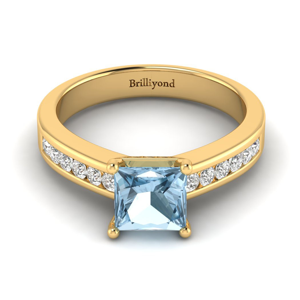 Aquamarine Yellow Gold Princess Cut Engagement Ring Pharos_image1