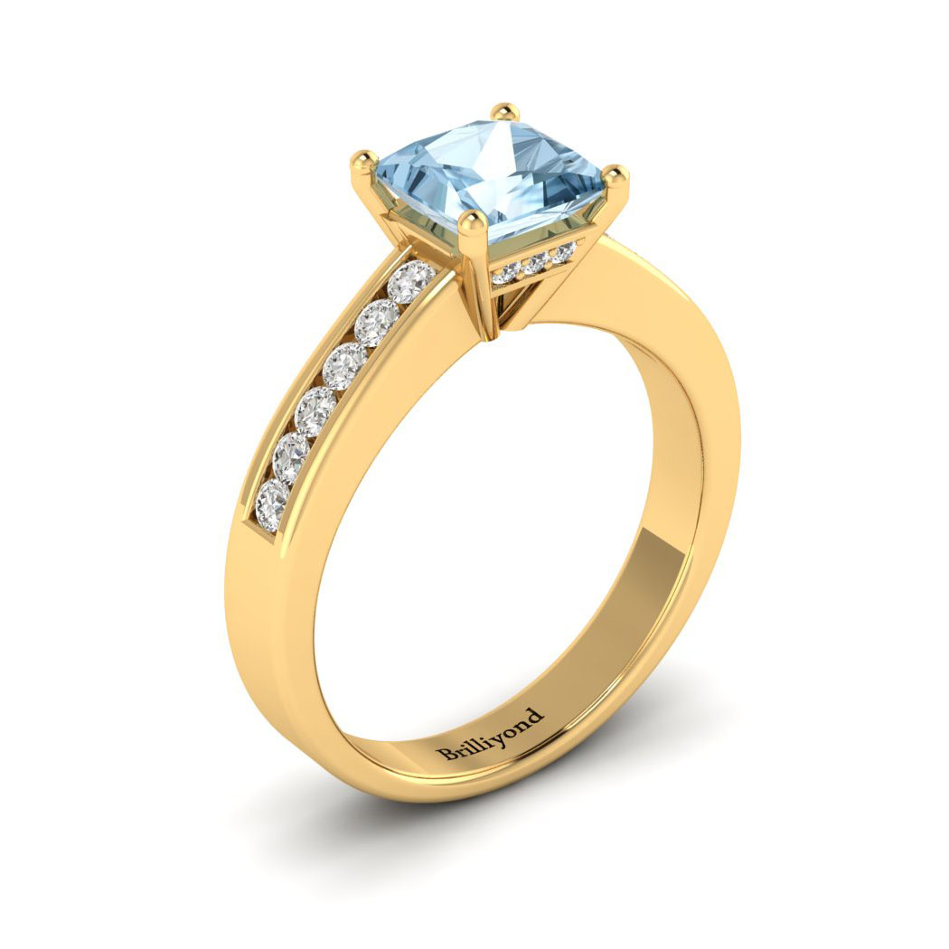 Aquamarine Yellow Gold Princess Cut Engagement Ring Pharos_image2