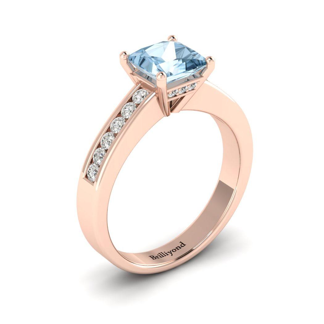 Aquamarine Rose Gold Princess Cut Engagement Ring Pharos_image1