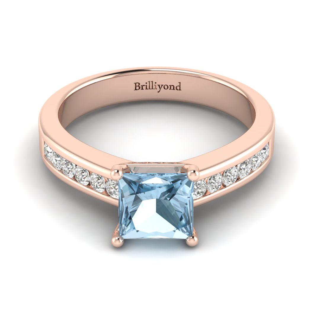 Aquamarine Rose Gold Princess Cut Engagement Ring Pharos_image2