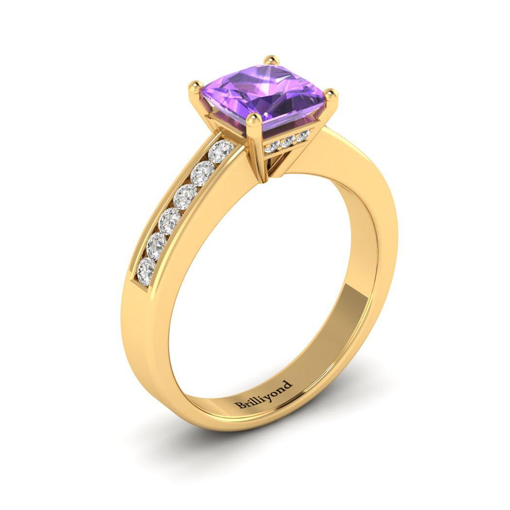 Amethyst Yellow Gold Princess Cut Engagement Ring Pharos_image1
