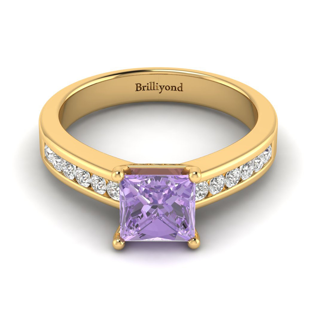 Amethyst Yellow Gold Princess Cut Engagement Ring Pharos_image2