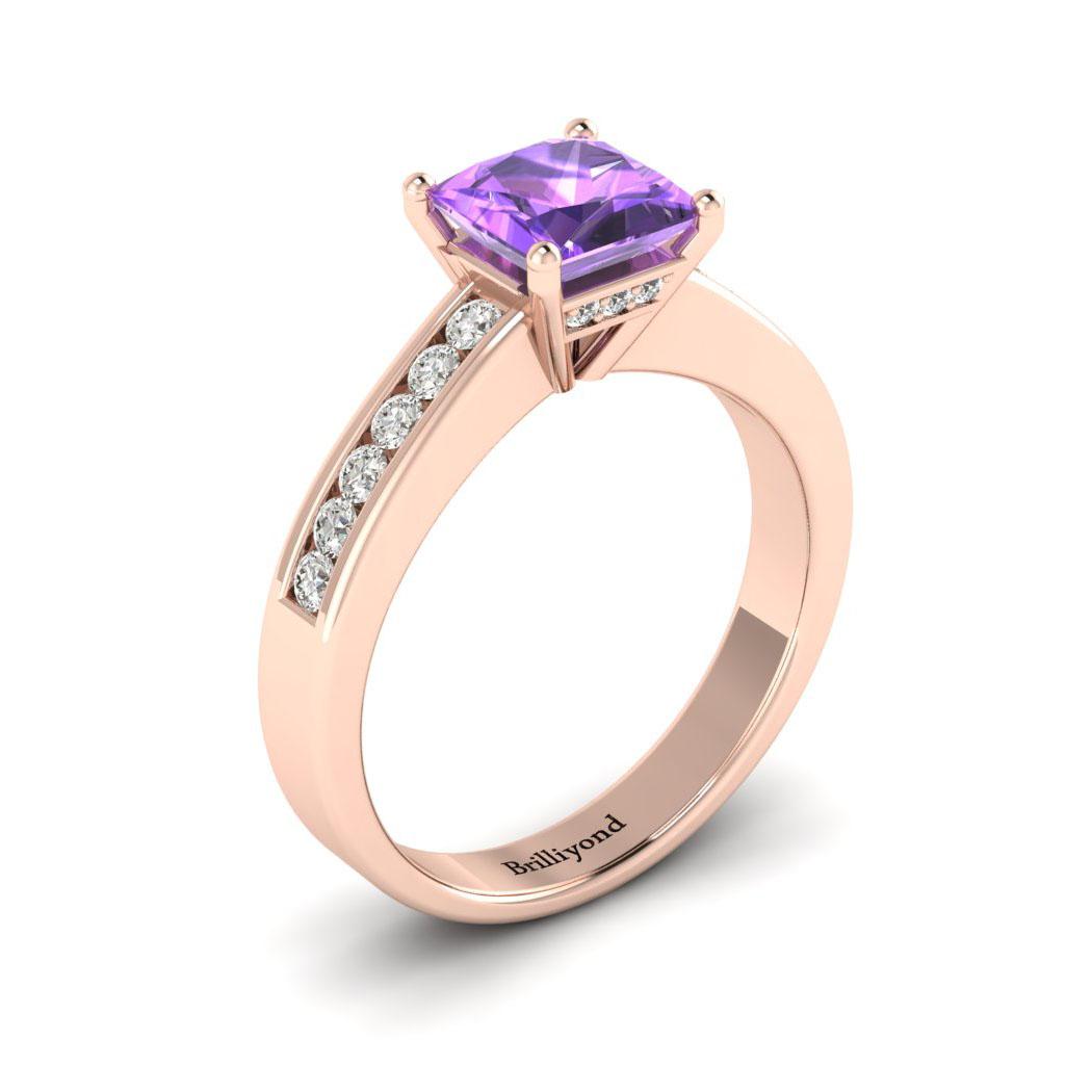 Amethyst Rose Gold Princess Cut Engagement Ring Pharos_image1