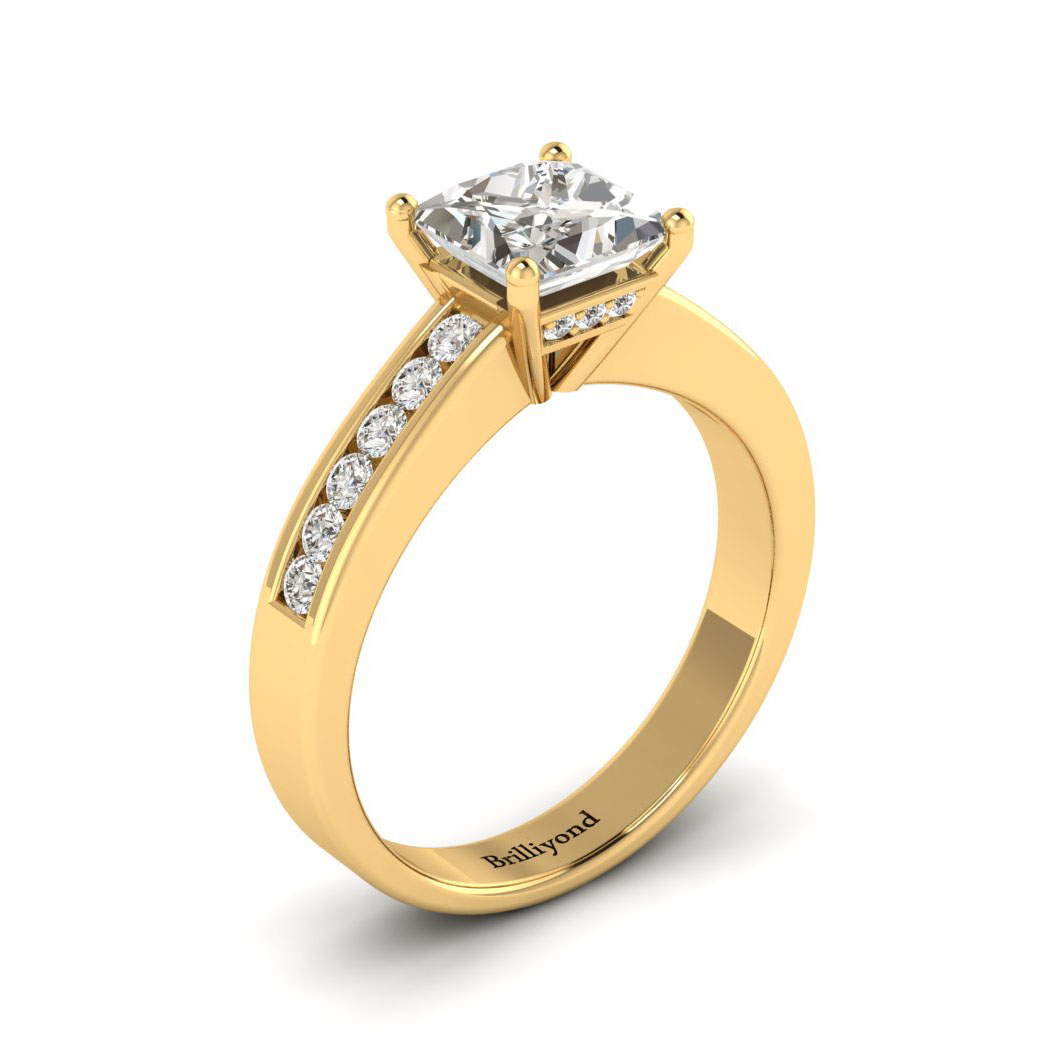 White Sapphire Yellow Gold Princess Cut Engagement Ring Pharos_image1